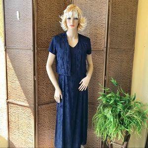 Navy blue midi dress with jacket